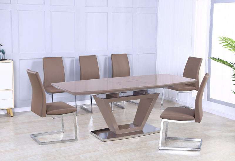 Azore Extending Dining Table High Gloss Cappuccino - Teyli Furniture