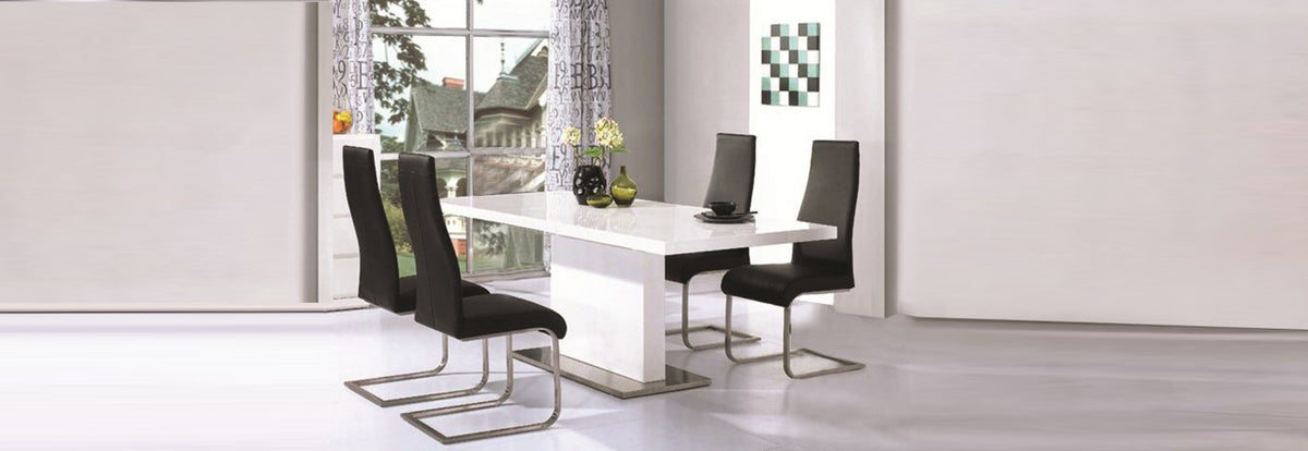 Chaffee Wooden Dining Table In White High Gloss - Teyli Furniture