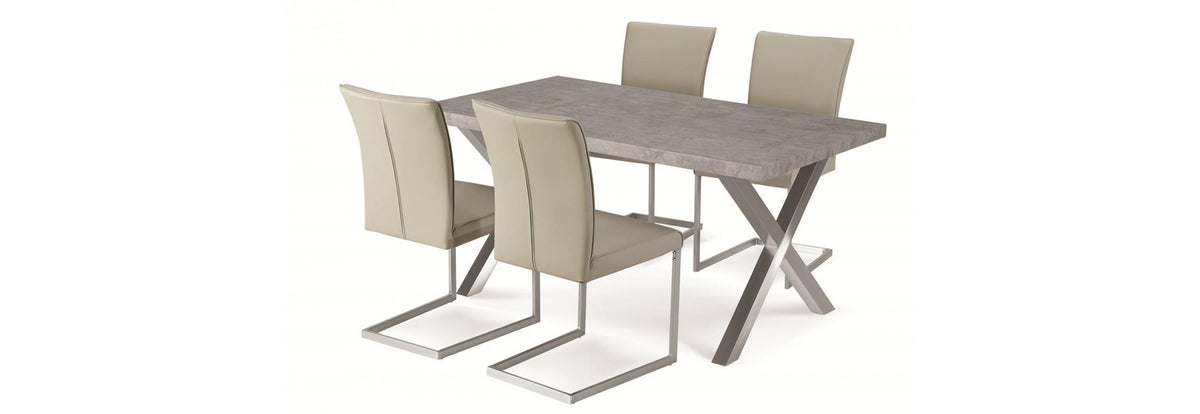 Helix Chairs Beige & Stainless Steel - Teyli Furniture