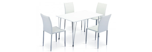 Iris High Gloss Dining Tabe White & Chrome with 4 Chairs - Teyli Furniture