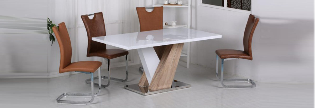 Natalie High Gloss Dining Table White & Natural