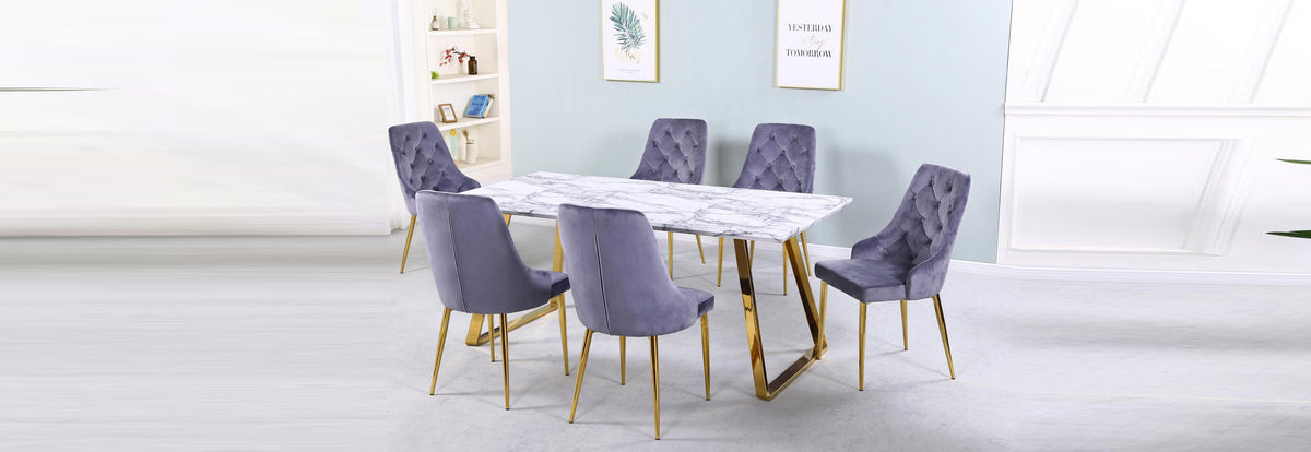 Newchapel Marble Effect Dining Table with Gold Legs