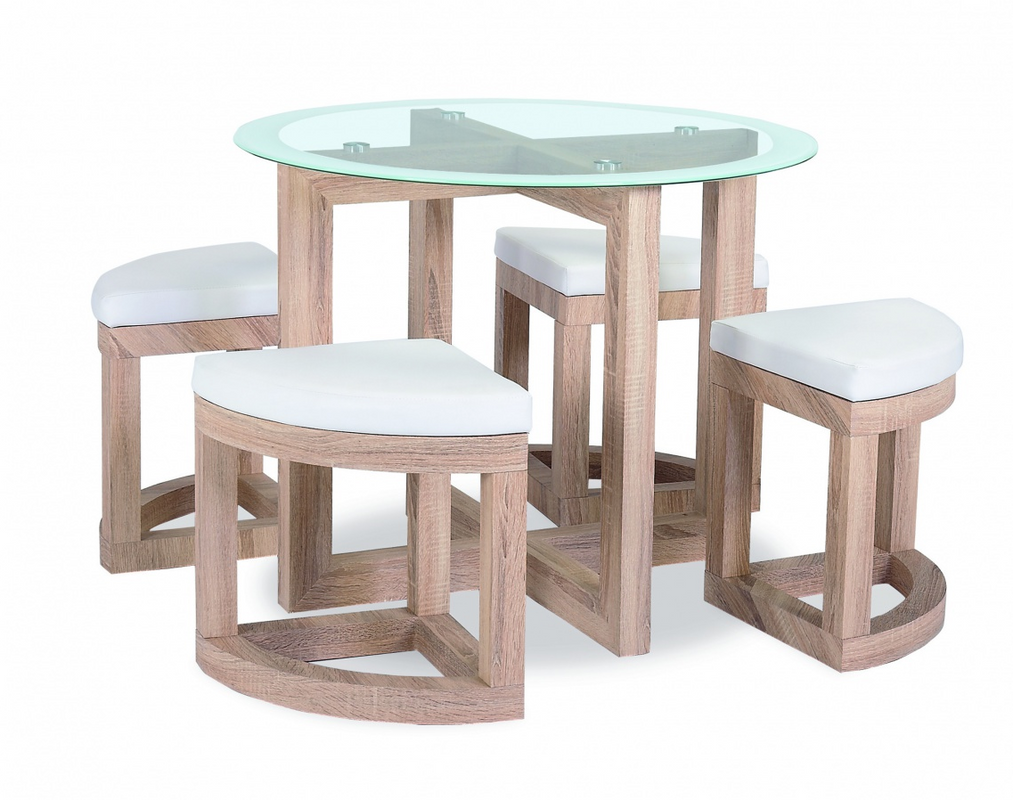 Quarry Dining Set with Glass Top and 4 Chairs