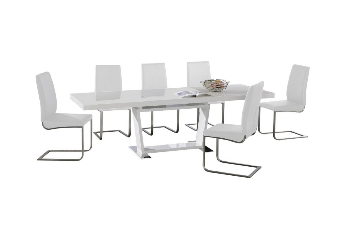 Marabel Extending Dining Table Set With 6 White Chairs
