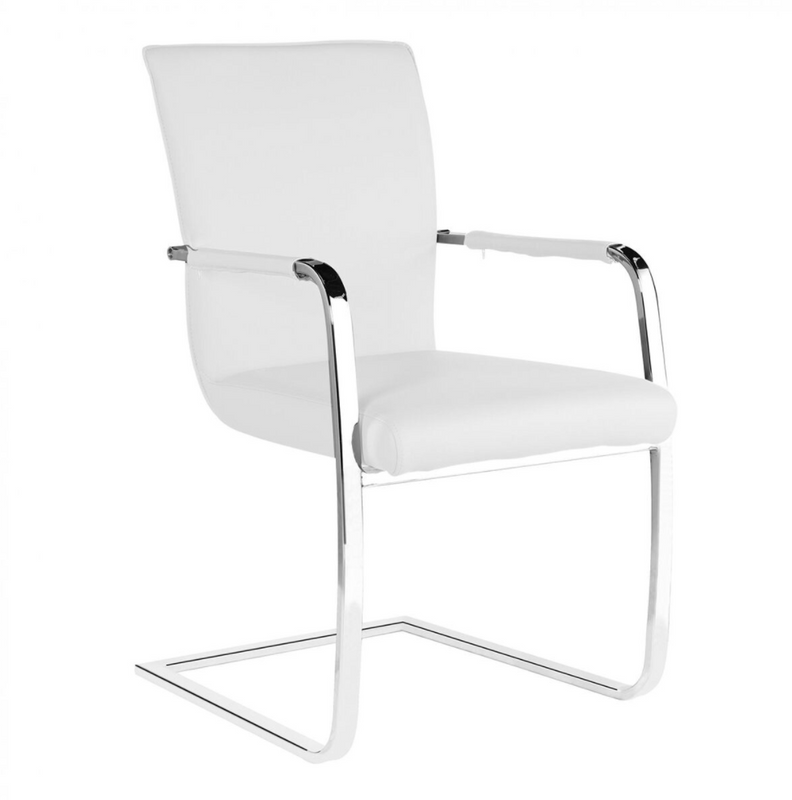 Copy of Copy of Set Of 2 Una Faux Leather Arm Chairs - Chrome & White