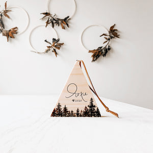 Nordic Mountain Forest Wood Ornament