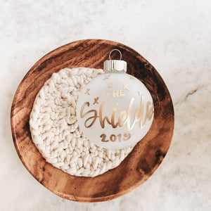 Frosted Personalized Christmas Ornament, Custom Calligraphy Ornament, Holiday Christmas Decor, Gold Ornament Lettering