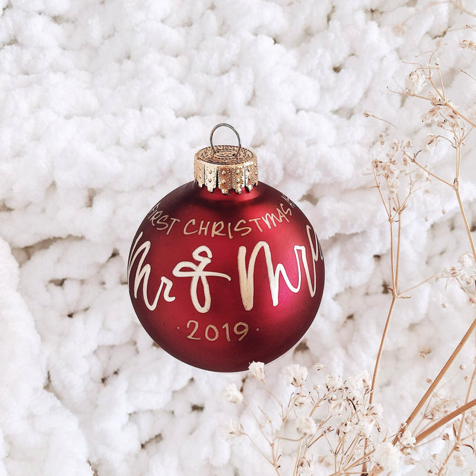Personalized Classic Matte Red Glass Ornament