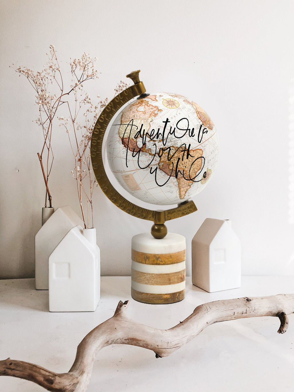 Calligraphy Wedding Globe Decor, Globe Lettering Home Decor, Wedding Guest Book, Globe Guest Book, Neutral Globe Decor