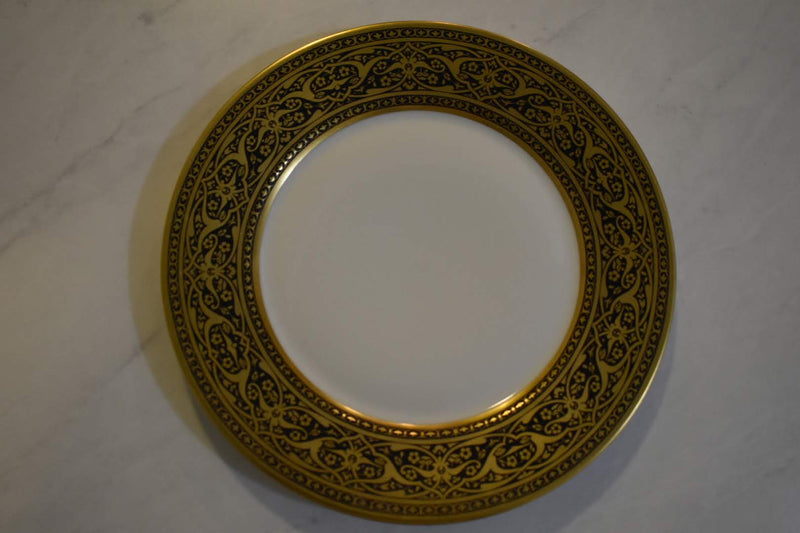 Porcelain Opaque Milk Glass  - Collectible  - Gold Hand Painted - Decor Plate