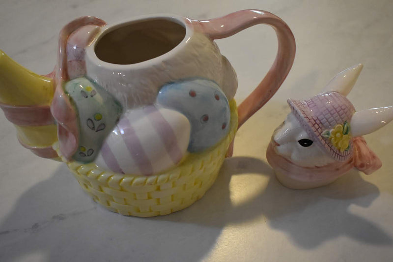 PASTEL EASTER BUNNY - TEA POT - CERAMIC - HOME DECOR