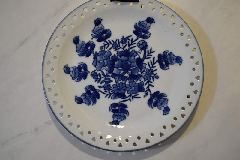 CERAMIC ORIENTAL PLATE - BLUE WHITE FLORAL DESIGN - WALL DECOR-TABLE DECOR