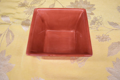 Ceramic Square Shape Bowl in Light Red color