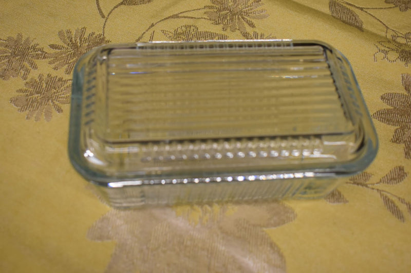 GLASS BOWL - MID CENTURY GLASS CONTAINER - SQUARE SHAPE WITH LID - NEW
