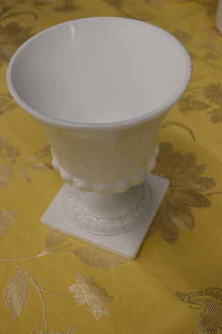 White Milk Glass Vase with Square Base