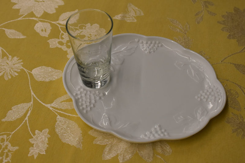 Porcelain Milk Glass - Grape Vine Emboss - Collectible - Snack Plate And Cup - Brand New, Classy