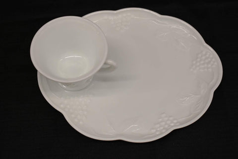 White Milk Glass Grape Harvest Design Snack/Appetizer Plate and Tea / Coffee Cup