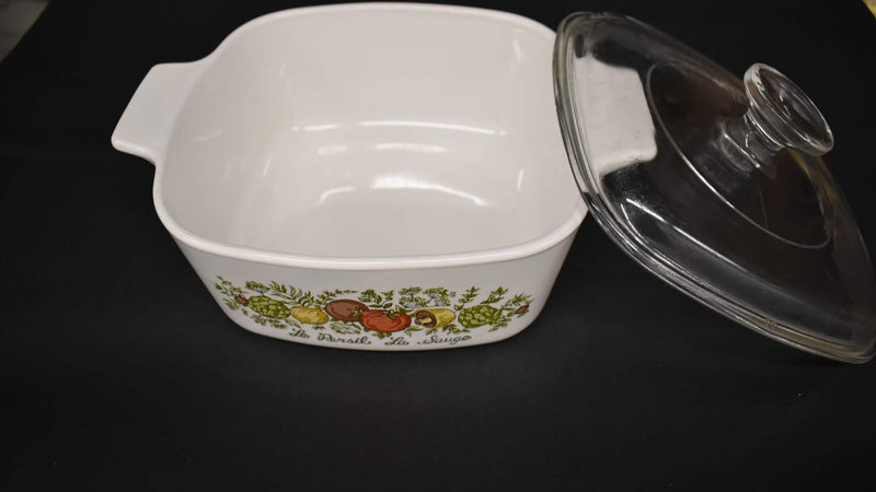 Mid Century Spice Of Life - Corning Ware Casserole - Square Shape With Lid