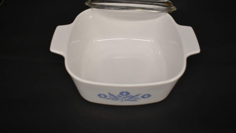 WHITE BLUE CORN FLOWER COLOR - MID CENTURY CASSEROLE  - SQUARE SHAPE WITH LID