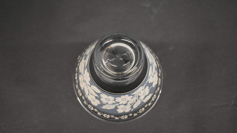MID CENTURY GLASS VASE - BLUE AND WHITE FLORAL PATTERN - HOME DECOR - NEW