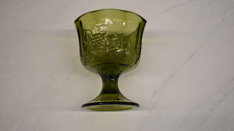 Green Glass Round Shape Pedestal Bowl with Grape Harvest design