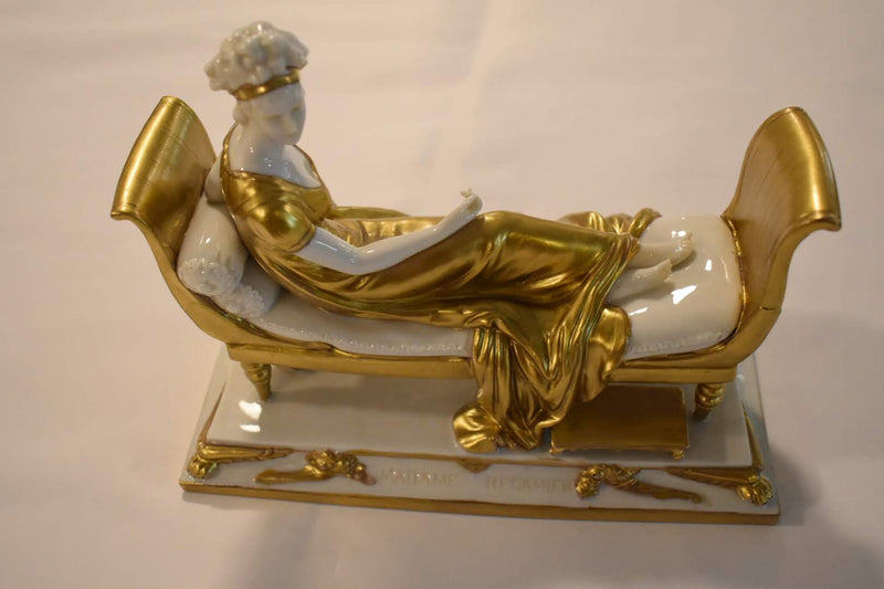 VINTAGE PORCELAIN FIGURE - MADAME RECAMIER PORCELAIN FIGURE- GOLD COLOR