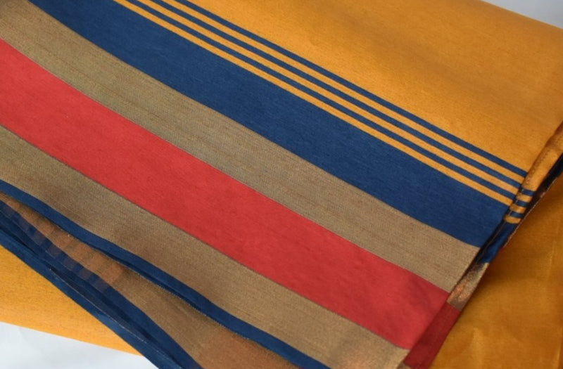 YELLOW COLOR - NORTH PURE SILK BLEND SAREE - GOLD AND MAROON COLOR BORDER