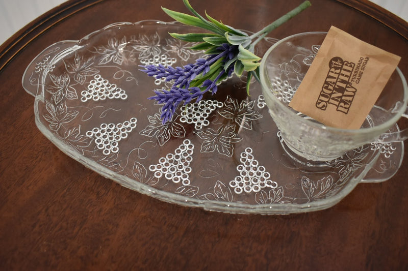 Glass - Grape Emboss Pattern - Snack Plate and Cup