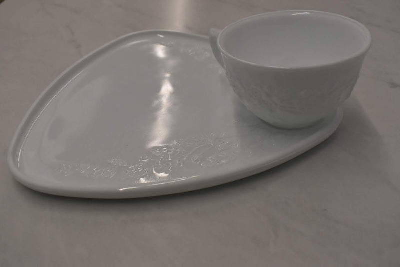 MILK WHITE, FLORAL EMBOSSED DESIGN - PORCELAIN SNACK PLATE AND CUP - BRAND NEW