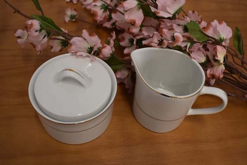 DOUBLE GOLD BAND SUGAR BOWL WITH LID AND CREAMER - FINE PORCELAIN  CHINA, PRISTINE IVORY, BRAND NEW