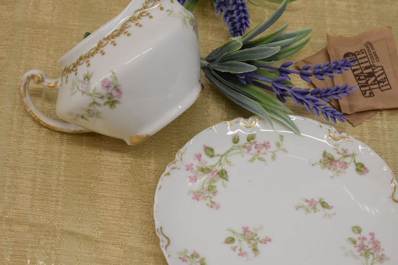Limoges Haviland Porcelain Fine China - Mid Century - 2 Cookie, Sugar Plate And Creamer - Pink Floral Pattern With Gold Trim - From France