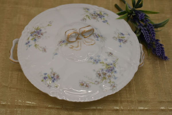 LIMOGES THEODORE HAVILAND FINE BONE CHINA - VEGETABLE BOWL WITH LID - BLUE WHITE GREEN FLORAL PATTERN - FROM FRANCE - GOLD TRIM