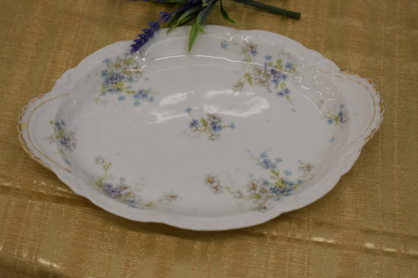 LIMOGES THEODORE HAVILAND FINE BONE CHINA - OVAL PLATTER - BLUE WHITE GREEN FLORAL PATTERN - FROM FRANCE - GOLD TRIM