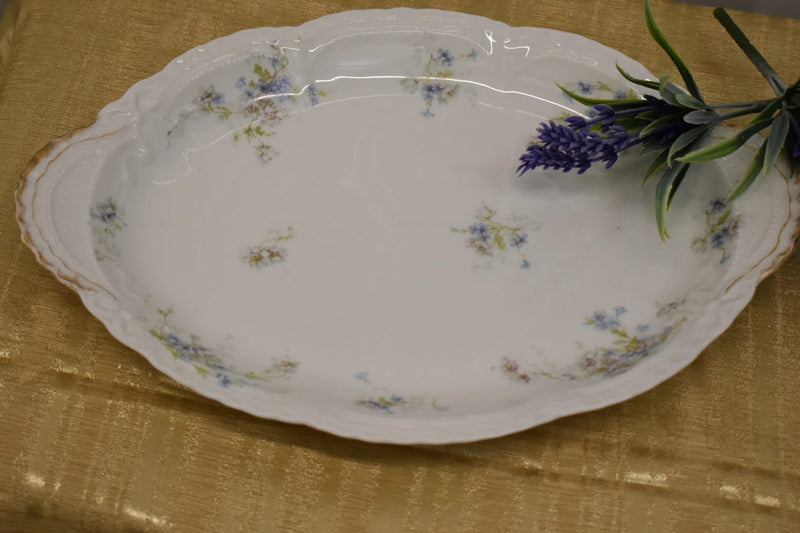 Limoges Theodore Haviland Fine Porcelain China -Mid Century Big Oval Platter - Blue White Green Floral Pattern - From France - Gold Trim