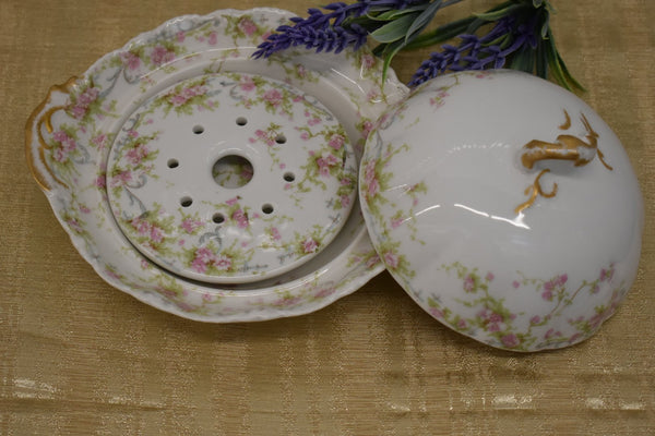LIMOGES THEODORE HAVILAND FINE BONE CHINA - BUTTER DISH - PINK GREEN FLORAL PATTERN - FROM FRANCE - GOLD TRIM