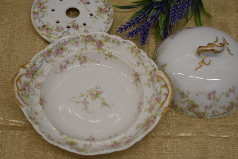 Limoges Theodore Haviland Porcelain Fine China - Mid Century - Butter Dish - Pink Green Floral Pattern - From France - Gold Trim