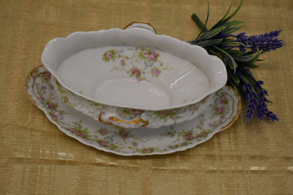 LIMOGES THEODORE HAVILAND FINE BONE CHINA - GRAVY BOWL AND PLATE- PINK GREEN FLORAL PATTERN - FROM FRANCE - GOLD TRIM