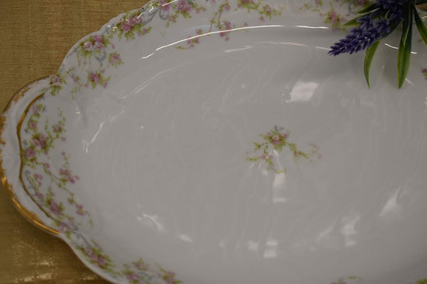 LIMOGES THEODORE HAVILAND FINE BONE CHINA - OVAL PLATTER - PINK GREEN FLORAL PATTERN - FROM FRANCE - GOLD TRIM