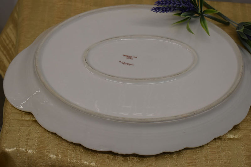 Limoges Theodore Haviland Fine Porcelain China - Mid Century Oval Platter - Pink Green Floral Pattern - From France - Gold Trim