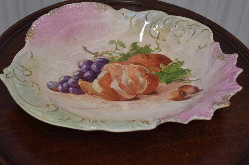 PORCELAIN CERAMIC - HAND PAINTED MID CENTURY FRUIT PLATTER - HOME DECOR - GOLD TRIM - IMPORTED