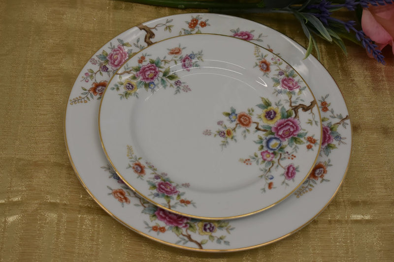 Noritake Porcelain Fine China - Pink Yellow Orange Carnations Floral - Very Rare Pattern - Gold Rim - 2 Piece Platter Set