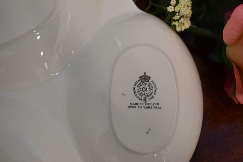 PORCELAIN MID CENTURY FINE CHINA- CIRCULAR SPOON REST- RELISH PLATTER - ROYAL WORCHESTER EVESHAM-GOLD RIM-ENGLAND - BRAND NEW