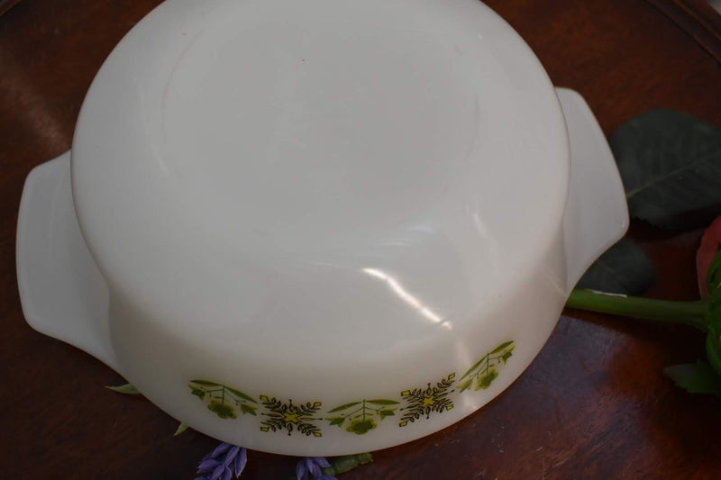 White Glass - Mid Century Pyrex Casserole - Round Shape - Green Color Floral Pattern