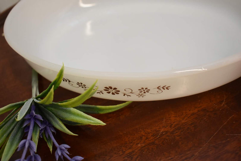 WHITE GLASS - SERVEWARE CASSEROLE - OVAL SHAPE - BROWN COLOR FLORAL PATTERN