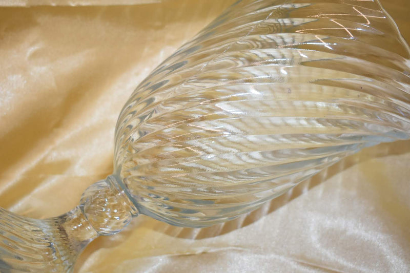 Crystal Glass With Swirl Pattern - Mid Century-  Wine Cooler - Ice Bucket- Candle Holder