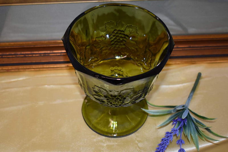 Crystal Mid Century Glass - Green Color - Grape Emboss Pattern - Pedestal Bowl
