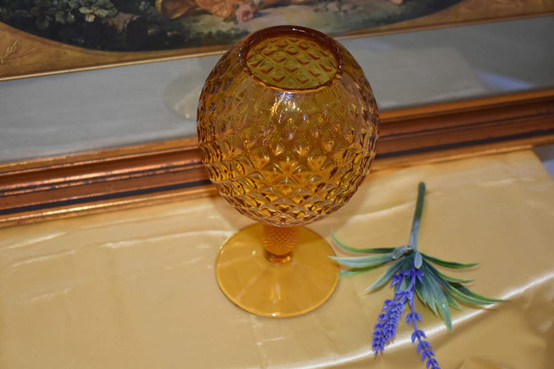 MID CENTURY GLASS VASE - GOLDEN YELLOW COLOR -NEW