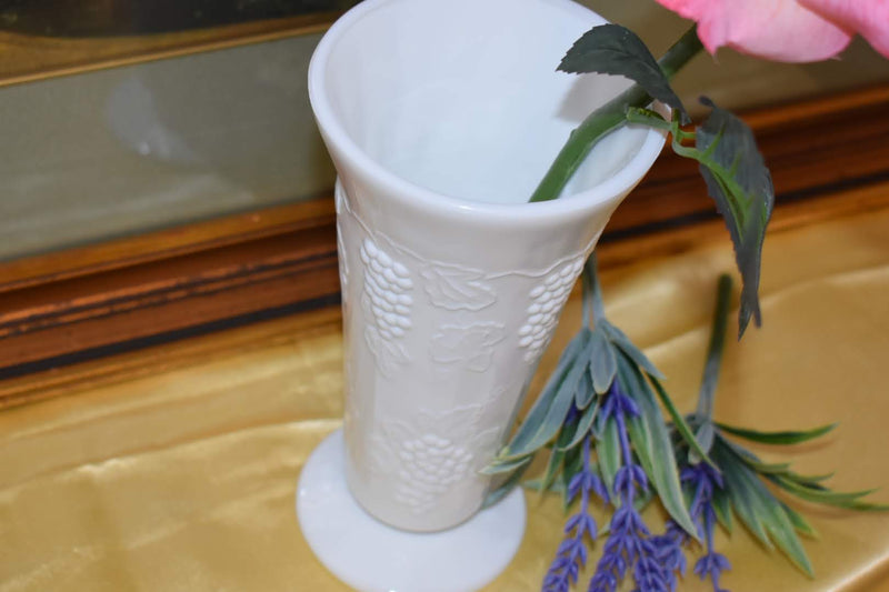 Porcelain Milk Glass - Collectible - Tall Vase - Grape Vine Emboss pattern