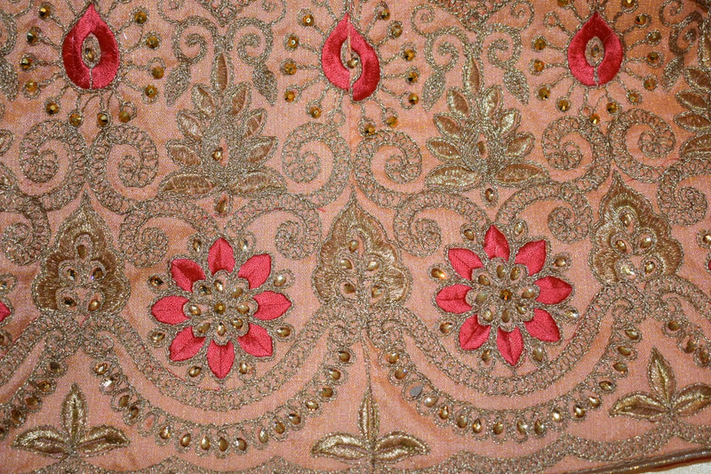 Fresh Peach Color - Pure Silk, Raw Effect, Jewel Studded, Embroidered - Lehenga Choli Duppata Set