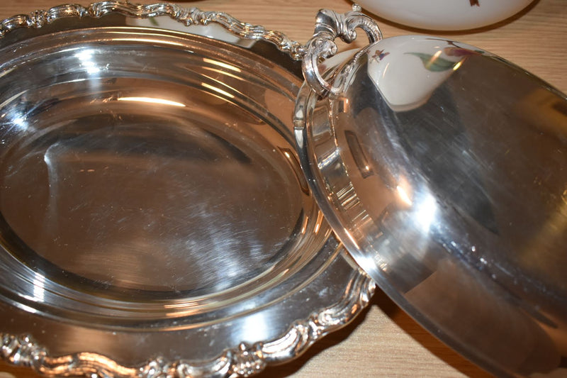 Silver Plated Mid Century Oval Shape Ornate Pattern Vegetable Bowl With Lid
